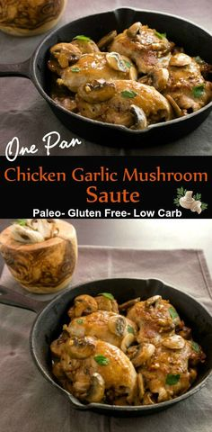 One Pan Chicken Garlic Mushroom Saute- An easy paleo, low carb, one pan wonder meal. via @staceyloucraw