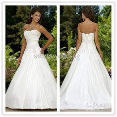 Wholesale Custom-Made 2011 sexy modest A lline strapless court train satin beaded corset Wedding Dresses gowns, Free shipping, $73.92-94.08/Piece | DHgate