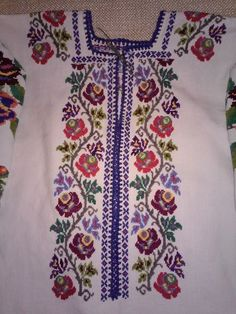 Ukraine, from Iryna Polish Embroidery, Floral Embroidery, Embroidery Patterns, Hand Embroidery, Cross Stitch Patterns, Types Of Stitches, Embroidered Clothes, Cross Designs, Pusheen