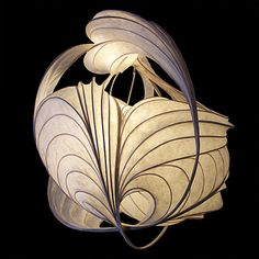 William Leslie-'lightsculpture' made from thin strips of wood bent into a frame then covered with paper soaked in polyvinyl resin Fine Art Lighting, Cool Lighting, Lighting Design, Custom Lighting, Interior Lighting, Diy Lampe, Light In, Creation Deco, Luminaire Design