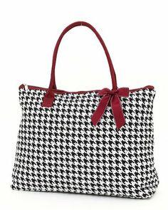 Belvah Quilted Houndstooth Large Tote Handbag