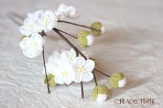 iichi - HandMade in Japan White Japanese Plum Blossoms Tsumami Kanzashi (Hair stick)