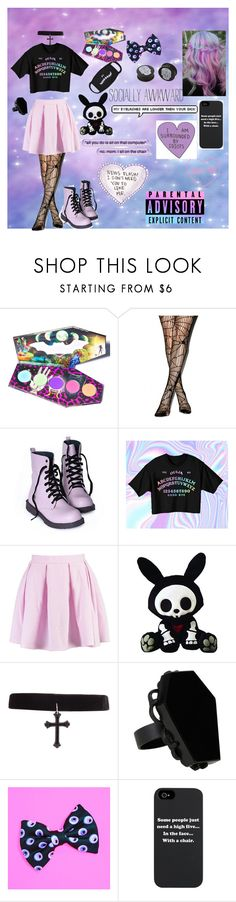 """Pastel goth just cause"" by emobandgeekforlife ❤ liked on Polyvore featuring LunatiCK Cosmetic Labs, Boohoo, KAOS and pastelgoth"