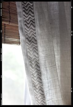 Linen curtains with trim - inspiration for living room curtains