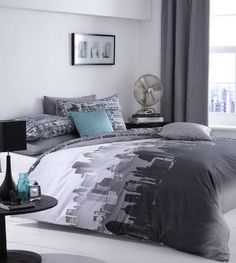 City Scape Blue/Black Urban Duvet Quilt Cover Bedding Sets - Single/Double/King