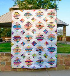 Razor's Edge Quilt - great scrappy quilt; 78 x 98 in, 20 in blocks
