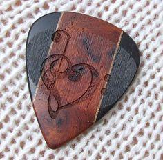 Wood Guitar Pick - Laser Engraved Handmade Exotic Amboyna Burl, Gabon Ebony, and Walnut - Premium Guitar Pick