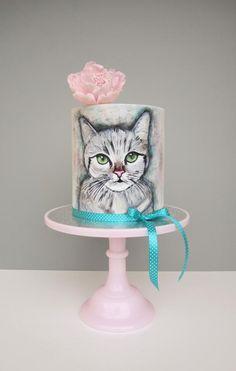 Cat cake Cat cake by daruj tortu Mini Tortillas, Pretty Cakes, Cute Cakes, Kitten Cake, Birthday Cake For Cat, Teen Cakes, Cake Topper Tutorial, Cake Wrecks, Painted Cakes