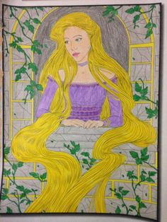 Rapunzel feeling lonely in her tower from Grimm Fairy Tales coloring book by Jade Summer Grimm Fairy Tales, Feeling Lonely, Rapunzel, Coloring Books, Jade, Disney Characters, Fictional Characters, Aurora Sleeping Beauty, Tower