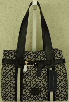 Tommy Hilfiger Beige Black TH Monogram Canvas Medium Shopper Handbag... SALE $49.99 #bbclosetboutique