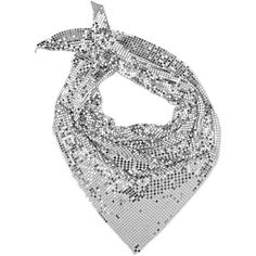 Paco Rabanne Women's Chain-Mail Triangular Scarf ($460) ❤ liked on Polyvore featuring accessories, scarves, lightweight scarves, triangle shawl, triangular shawl, triangle scarves and paco rabanne