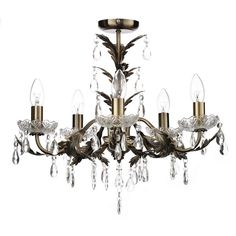Debenhams Paisley Antique Brass Metal and Crystal Glass Flush Light Lounge Lighting, Flush Lighting, Metal Chandelier, Chandelier Ceiling Lights, Brass Metal, Antique Brass, Debenhams, Cut Glass, Bulb
