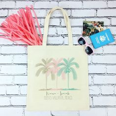 Planning a destination beach wedding?! Our adorable tote bags are the oh so perfect beach bag favor for your guests when checking into their hotel! These totes are off to a fab wedding in PUERTO VALLARTA, MEXICO!