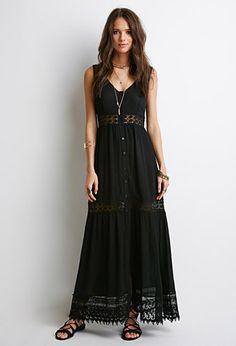 Crochet-Trimmed Crepe Maxi Dress   Forever 21 - 2000053242