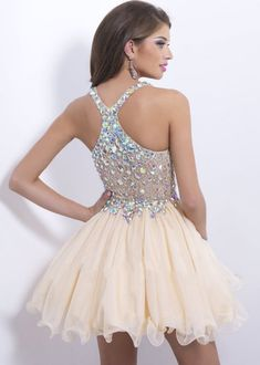 Champagne Straps Deep V Neck Chiffon Jeweled Cocktail Dress [Blush 9857 Champagne] - $186.00 : Hot Trends Prom Dresses 2015 On Store For Girls