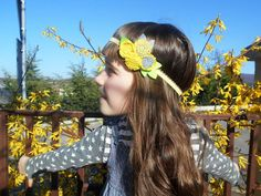 Yellow / gray felt flower sping headband for babies and girls