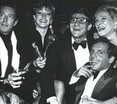 Halston, Loulou de La Falaise, Yves St. Laurent, Nan Kempner, and Steve Rubell at Studio 54