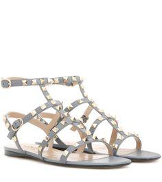 852384cd370 Rockstud grey blue leather sandals. Valentino studded ...