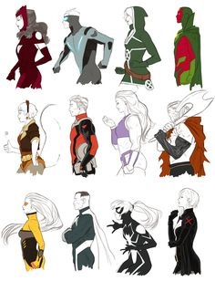 """kristaferanka: """" my Marvel Now series - updated - about a year of drawing Cyclops - Scarlet Witch - Invisible Woman - Spider-man She-Hulk - Iron Man - Deadpool - Red She-Hulk Thor - Rogue - Cable -..."""