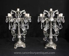 Pair Victorian Silver Plate Candelabras Table Lamps Chandeliers Light Chandeliers, Chandelier Lighting, English Antique Furniture, Antique Table Lamps, Chippendale Chairs, Victorian Parlor, Art Deco Furniture, Candelabra, Silver Plate
