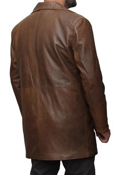 Batman Brown Knightmare Dawn of Justice Distressed Leather Trench Coat at Amazon Men's Clothing store: