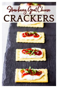 Strawberry Goat Cheese Crackers - these Strawberry Goat Cheese Crackers make a quick, tasty appetizer or snack. This easy recipe takes only minutes to are and the combination of sweet strawberries and tangy goat cheese is absolutely delicious! | #goatcheese #goatcheesecrackers #appetizers #goatcheeseappetizers #strawberryjam Easy To Make Appetizers, Best Appetizer Recipes, Yummy Appetizers, Yummy Snacks, Snack Recipes, Appetizer Ideas, Kitchen Recipes, Delicious Recipes, Easy Party Food