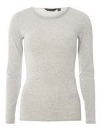 Womens **Tall Grey Crew Neck Long Sleeve Top- Grey