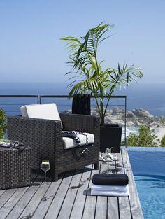 Pool, ocean, shoes, glass o' wine.....