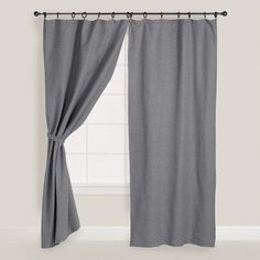 One of my favorite discoveries at WorldMarket.com: Gray Canvas Ring Top Jaya Curtains, Set of 2
