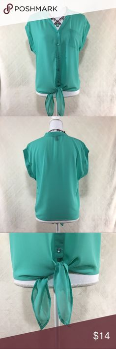 Teal button up top Teal button up top. 5 buttons. Pocket on the front. Sleeves fold over. Tie at the bottom. Forever 21 size medium. 100% polyester. Forever 21 Tops