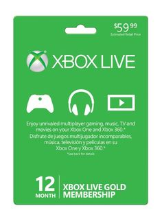 12 Month Xbox Live Gold Membership (Xbox 360 / Xbox One) Xbox 360, Xbox One Live, The Newest Xbox, Microsoft Software, Game Codes, Thing 1, Xbox Games, Fishing Outfits, Hd Movies