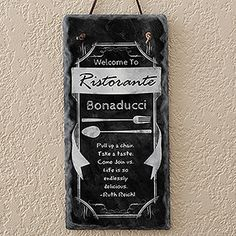 Kitchen Chalkboard Personalized Slate Sign
