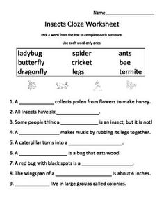 Worksheet Free Insect Worksheets insects and worksheets on pinterest free cloze worksheet fill in the blank