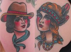 Cowgirl and Indian Tattoo by Lina Sigsson