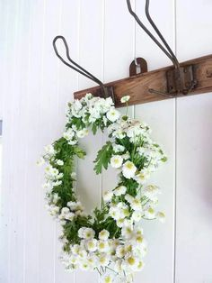 simple wreath and old hooks