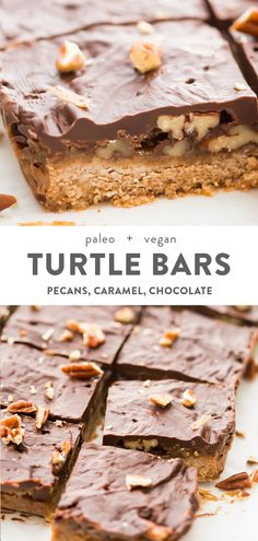 These turtle bars are inexplicably good, layered with a quick crust, topped with pecan halves, covered with an insanely easy caramel made in the microwave, finished off with a dark chocolate layer. Desserts Keto, Paleo Sweets, Healthy Dessert Recipes, Gourmet Recipes, Paleo Recipes, Italian Desserts, Paleo Desert Recipes, Parfait Desserts, Custard Desserts