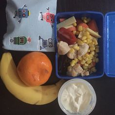School & Preschool lunches today : Miss 10 made the lunch last night & just asked me to save some chicken from their dinner for her to add to the salad - the salad is chicken, corn, tomato, carrot, cheese & medjool dates. They also have yoghurt, fruit & in the 4myEarth food pouch (which are ON SALE through my website!!!) is a few Seaweed Rice Crackers  #cutoutthecrap #lunch #kidsinthekitchen #grateful #morningtea #school  CUT OUT THE CRAP www.cutoutthecrap.com.au