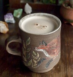 """musiclostlove: """" Breaking in this wonderful, whimsical @michellelynstrader mug with a hot, spicy chai. Why is it so beautifullll? Oh and that unglazed exterior is so nice to hold Love! """""""