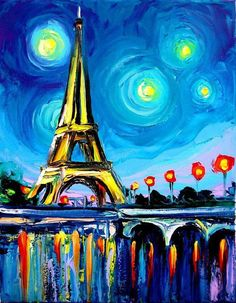 Paintings with acrylic paint for beginners acrylic painting idea easy acrylic canvas painting ideas for beginners . Simple Oil Painting, Simple Acrylic Paintings, Colorful Paintings, Easy Paintings, Oil Paintings, Eiffel Tower Painting, Eiffel Tower Art, Watercolor Paintings For Beginners, Beginner Painting