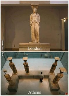 every time I go to the national acropolis museum in the capital of my country,Athens ,and I'm standing in front of statues of the Caryatids fell a little bad, you know, because they had to be six and there are only five . British Museum, Greek History, Greek Culture, Ancient Greece, Best Funny Pictures, Archaeology, Les Oeuvres, Beautiful Places, Amazing Places
