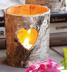 Birken-Teelichthalter Herz, romantischer Teelicht-Halter, Windlicht (NEU & OVP)