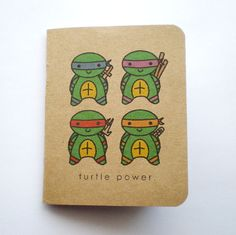 Kawaii Ninja Turtle Power Mini Kraft Notebook by HelloAmor on Etsy, $6.00