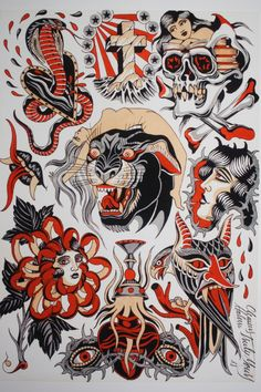 Panther Flash - Clemens Hahn – Beyond Tradition Traditional Tattoo Sketches, Traditional Tattoo Old School, Traditional Tattoo Design, Dessin Old School, Tattoo Tradicional, Tatto Old, Tattoo Posters, American Traditional, Neo Traditional