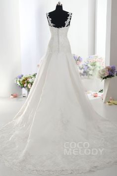 Dreamy A-Line Spaghetti Strap Dropped Train Satin Ivory Sleeveless Zipper With Button Wedding Dress with Appliques HS9353 #weddingdress #cocomelody