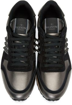 Valentino - Gunmetal & Black Rockstud Sneakers