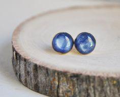 Kyanite Earrings, Kyanite Stud Earrings, Blue Kyanite Earrings, Blue Stone Earrings, Stone Earrings, Round Earrings, Blue and Gold, Kyanite by FawningInLove on Etsy