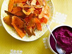 A much healthier take on chips and dip, this dish combines crispy golden sweet potato chips with a flavour-packed homemade beetroot hommus.