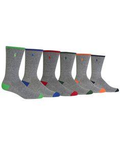 Polo Ralph Lauren Men's Big & Tall 6-Pk. Color-Tipped Crew Socks