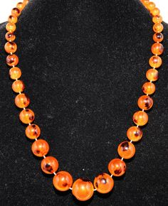 Honey Lucite Bead Necklace by GenusJewels on Etsy