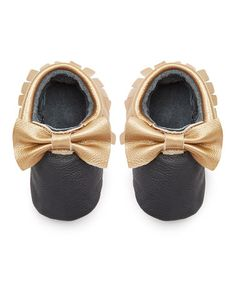 Look at this Black   Copper Bow Fringe Leather Moccasin Booties. Aubrey  Odom · Kiddo girl shoes 245137cd8527